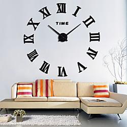 Large 3D DIY Wall Clock Roman Numerals Clock Frameless Mirror Surface Wall Clock Home Decor for Livi
