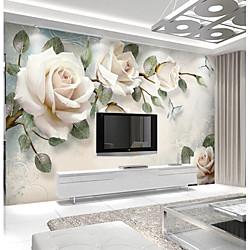 Wallpaper 3D Photo Art Mural Wall Covering Light Pink Rose Flower Decoration Décor Living Room Bedr