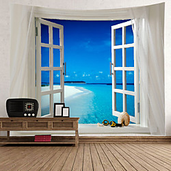 Window Landscape Wall Tapestry Art Decor Blanket Curtain Picnic Tablecloth Hanging Home Bedroom Livi