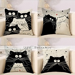 Cushion Cover 4PC Linen Soft Decorative Square Throw Pillow Cover Cushion Case Pillowcase for Sofa B