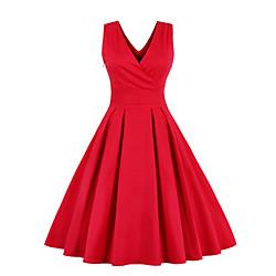 lightinthebox Dames Chiffon jurken Midi-jurk - Mouwloos Effen Geplooid Strik V-hals Jaren '50 heet Vintage Uitgaan Exclusief riem Slank Rood Marine Blauw S M L XL XXL 3XL 4XL