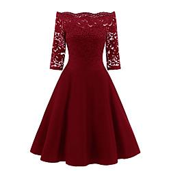 lightinthebox Dames Strakke jurk Knielengte jurk - Halve mouw Effen Schouderafhangend heet Wijn Marineblauw S M L XL XXL