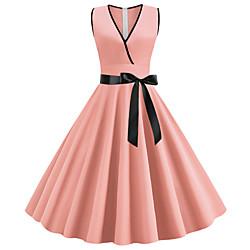 lightinthebox Dames A-lijn jurk Midi-jurk - Mouwloos Strik Zomer V-hals Jaren '50 heet Vintage Uitgaan Zwart Paars Rood Blozend Roze Klaver Licht Blauw S M L XL XXL