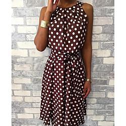 lightinthebox Dames Strakke jurk Knielengte jurk - Mouwloos Polka dot heet Elegant Slank Zwart Geel Wijn Klaver Marineblauw Grijs S M L XL XXL 3XL 4XL 5XL