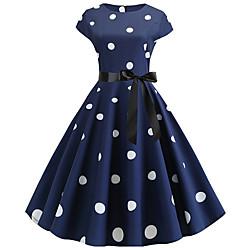 lightinthebox Dames A-lijn jurk Midi-jurk - Korte mouw Polka dot Geplooid heet Vintage Zwart blauw Rood Marineblauw S M L XL XXL