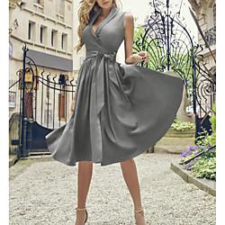 lightinthebox Dames A-lijn jurk Knielengte jurk - Mouwloos Effen Kleur Zomer Overhemdkraag Jaren '50 heet Vintage Slank 2020 blauw Rood Klaver Grijs S M L XL XXL