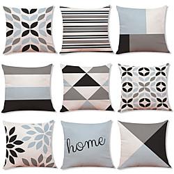 Image of 1 set di 9 pezzi moderna fodera per cuscino serie geometria decorativa finta lino fodera per cuscino casa divano cuscino decorativo esterno per divano divano letto sedia Lightinthebox