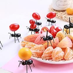 12 Stück / Set Mini Obst Ameise Gabel Besteck Kunststoff Kuchen Dessert Gabeln Lebensmittel Pick Tisch für Party Dekoration Küchengeräte Lightinthebox
