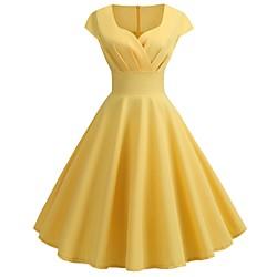 lightinthebox Dames Swingjurk Knielengte jurk - Korte mouw Effen Kleur Met ruches Herfst heet Informeel Katoen Slank 2020 Zwart Geel Blozend Roze Wijn Klaver Marine Blauw S M L XL XXL
