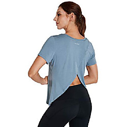 Women's workout tops short sleeve loose fit yoga sports shirts open back gym running athletic clothes