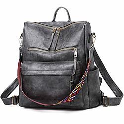 Image of borsa zaino donna zaino vintage in pelle lavata borsa a tracolla convertibile college leggero zaino da viaggio casual borsa grande capacità, grigio
