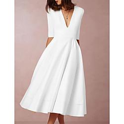 lightinthebox Dames Swingjurk Midi-jurk - Halve mouw Effen Diepe V-hals heet Elegant Wit S M L XL XXL 3XL