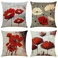 Image of set di 4 fiori artistici finto lino quadrato decorativo federe per cuscino copridivano divano per casa cuscino decorativo da esterno per divano divano letto sedia rosso Lightinthebox