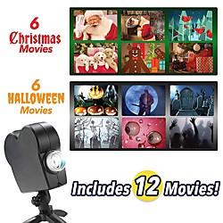 Christmas Halloween Laser Projector 12 Movies Disco Light Mini Window Home Theater Projector Indoor