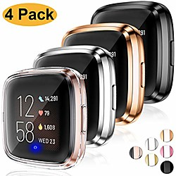 ultra thin hd case compatible with fitbit versa 2 screen protector case full protective cover for fi