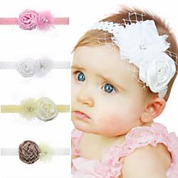 1 Stück Baby / Kleinkinder Mädchen Süß Weiß Solide Blume Chiffon Haarzubehör Weiß / Rosa / Braun Einheitsgröße Lightinthebox