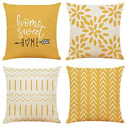 Image of cuscino 4pc finto lino morbido decorativo quadrato copertura del cuscino federa cuscino federa per divano camera da letto di qualità superiore esterno cuscino per divano divano letto sedia Lightinthebox