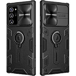samsung galaxy note 20 5g case with ring kickstand and camera lens cover, camshield armor shockproof