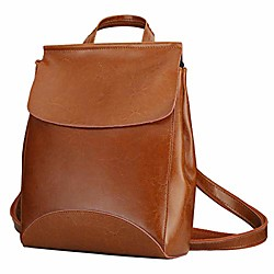 Image of zaino da donna in pelle con patta zaino borsa casual zainetto vintage scuola college elegante zaino shopping viaggio per ragazze cinghie regolabili da donna