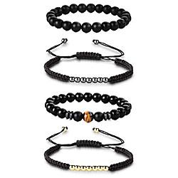 Image of braccialetto di perline per uomo donna elastico in pietra naturale yoga intrecciato braccialetto di corda braccialetto set 8mm