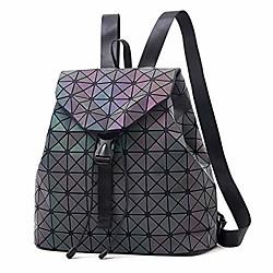 Image of zaino luminoso zaini geometrici in pelle da donna zaino geometrico da donna borsa con coulisse zaino borsa casual daypacks