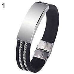 Image of braccialetto del polsino del braccialetto del braccialetto del braccialetto del silicone dell'acciaio inossidabile semplice stile punk degli uomini 1