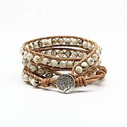 Image of braccialetto avvolgente gemma braccialetto braccialetto albero della vita in pelle avvolgere braccialetto di perline 3 avvolgere regolabile (4 mm turchese)
