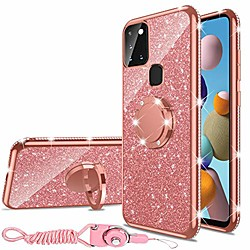 samsung galaxy a21s case, glitter luxury cute silicone tpu phone case for women girls with kickstand
