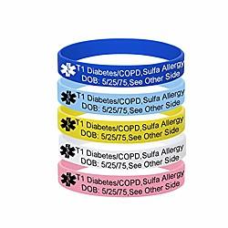 Image of mzzj 5 pack-braccialetto personalizzato per allergia ai farmaci per alimenti gioielli id allarme medico, larghezza 12 mm 100% gomma siliconica id braccialetto sportivo all'aperto, braccialetto