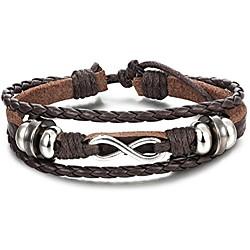 Image of braccialetto di cuoio genuino di fascino per gli uomini involucri del polso braccialetto del polsino intrecciato braccialetto regolabile 7-9 pollici colore marrone