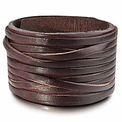 Image of polsino del braccialetto del braccialetto del braccialetto del cuoio genuino della lega degli uomini tono d'argento nero regolabile