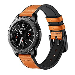 compatible for 22mm samsung galaxy watch 46mm/gear s3 frontier/classic bands leather soft silicone r