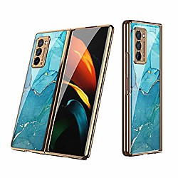 all-inclusive anti-drop tempered-glass plating frame hard shell compatible for 2020 samsung galaxy z
