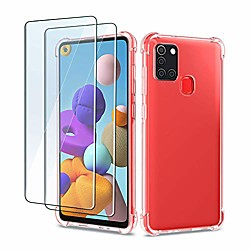 case for samsung galaxy a21s with 2 pack screen protector, transparent soft silicone tpu cover - tem