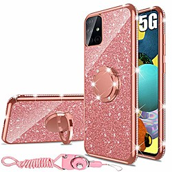 samsung galaxy a51 case 5g version, glitter luxury cute silicone tpu phone case for women girls with