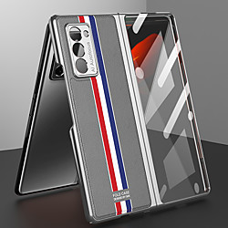 Case For Samsung Galaxy Galaxy Z Fold 2 Plating / Flip Full Body Cases Solid Colored PU Leather / PC