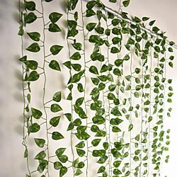 12pcs 220cm künstliche Pflanzen Rebe Wanddekoration Hochzeitsfeier dekorative künstliche Blätter Grün künstliche hängende Pflanzen für Hochzeitswanddekoration, Partyraumdekoration Lightinthebox