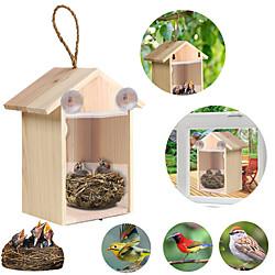 Image of Fai da te ventosa nido di uccelli casa in legno fatti a mano gabbia ecologica da esterno casetta per uccelli giardino cortile appeso Lightinthebox