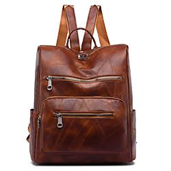 Image of Zaino per pendolari zaino da viaggio in pelle unisex borsa da scuola zaino impermeabile con cerniera quotidiana vino nero marrone caffè Lightinthebox