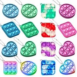 1 Stück Pop Bubble Fidget Spielzeug, Mini Push Pop mit Schlüsselanhänger, Luftpolsterfolie sensorisches Silikonspielzeug, Autismus spezielle Bedürfnisse Stressabbau taktiles Logikspiel für Kinder, Lightinthebox