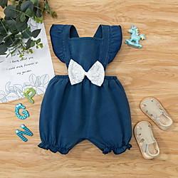Baby Girls' Basic Solid Colored Bow Sleeveless Romper Navy Blue Lightinthebox