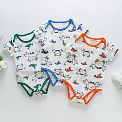 Baby Boys' Basic Animal Print Short Sleeves Romper Blue Lightinthebox