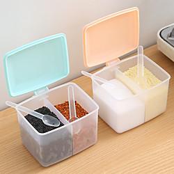 1pc Deckelbehälter Gewürzbox Kräuterzucker Salz Aufbewahrungsbox Gewürzglas Kochen Organizer Regal Küchenzubehör Lightinthebox