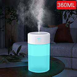 360 ml Luftbefeuchter Ultraschall-Aromatherapie-Diffusor tragbarer Aromatherapie-Sprayer USB-Zerstäuber für ätherisches Öl LED-Lampe zu Hause Lightinthebox