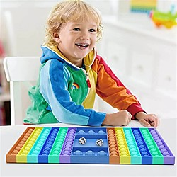1 Stück Zappeln Spielzeug Brettspiel Popit Regenbogen Schachbrett Einfache Grübchen Popper Zappeln Sinnesspielzeug Stressabbau Spielzeug Silikon Figur Spielzeug Lightinthebox