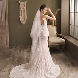 Clothing Two-tier Elegant  Luxurious / Lace Wedding Veil Chapel Veils with Solid Tulle Lightinthebox