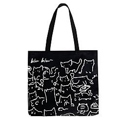2021 Kunstdesign süßes Tier handgemalte Illustration Umhängetasche Schultasche literarische Retro-Leinwandtasche mit großem Fassungsvermögen weiblich Lightinthebox