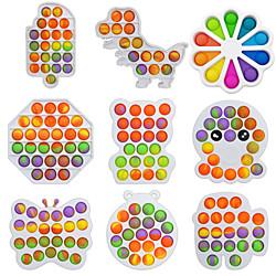 2 Stück Regenbogen Push Bubble Pops zappeln sensorisches Spielzeug für Autisim spezielle Bedürfnisse Anti-Stress-Spiel Stressabbau matschig zappeln Spielzeug Lightinthebox