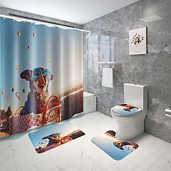 Home & Garden Personalized Pet Series Digital Printing Four-piece Set Shower Curtains and Hooks Modern Polyester Machine Made Waterproof Bathroom Lightinthebox