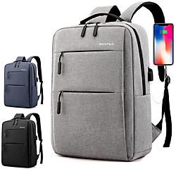 17 Laptop Rucksäcke / Handtaschen Nylonfaser / Polyester Volltonfarbe Für Männer Für Frauen für Geschäftsstelle Wasserdicht Stossfest Lightinthebox
